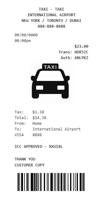 Generate Taxi Receipt Create Custom Taxi Receipt Template