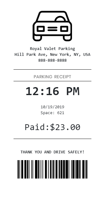 Custom generated parking receipt with standard parking images or custom logos